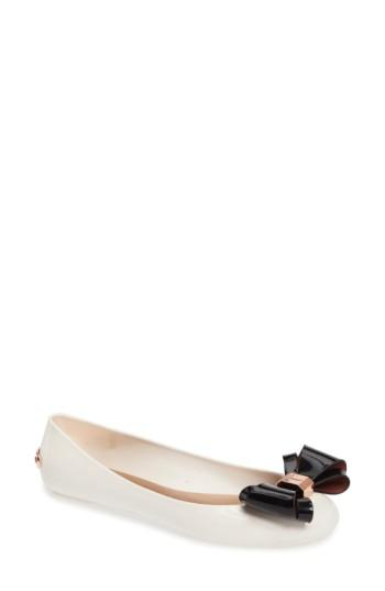Ted Baker Julivia Bow Flat In Cream/ Black