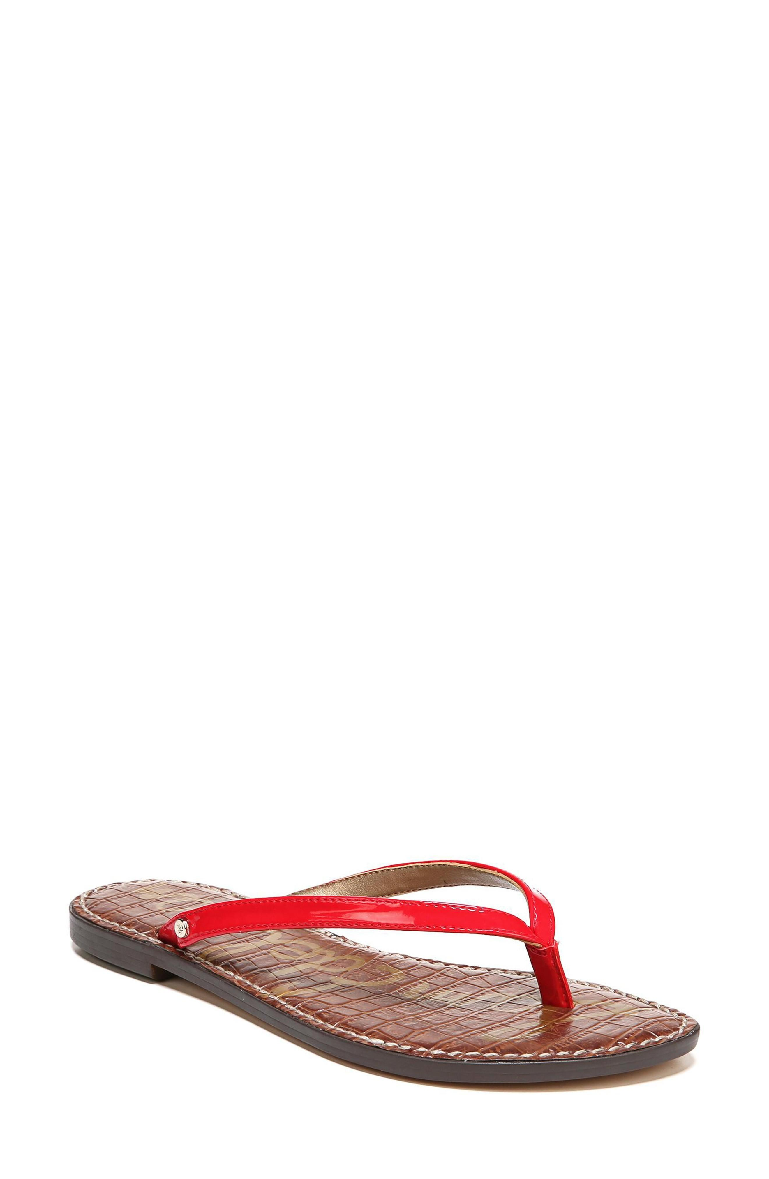 2adf2b91586b0a A breezy thong sandal is crafted from leather and furnished with a padded  footbed for comfortable wear. Style Name  Sam Edelman Gracie Sandal.