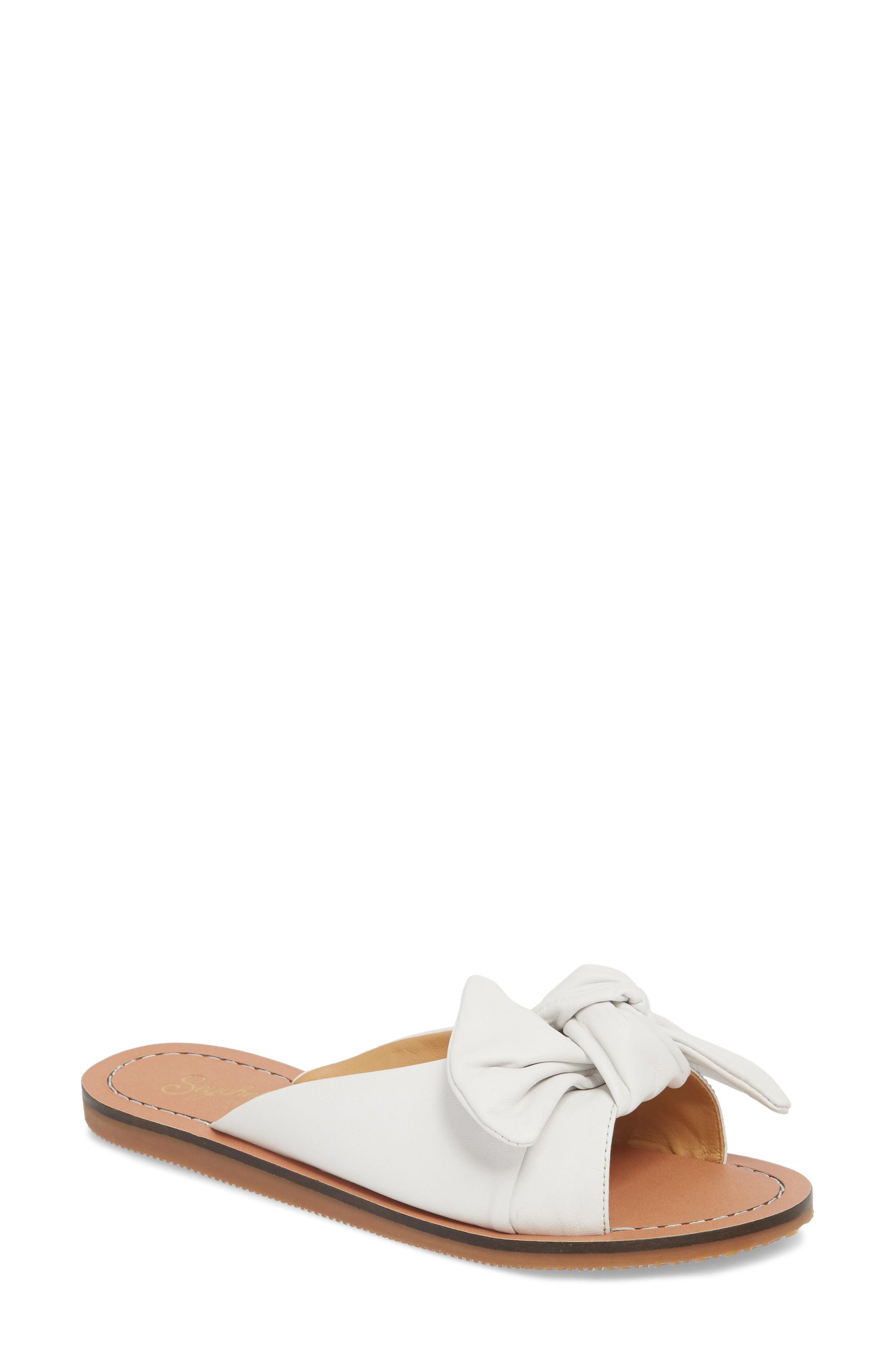 Seychelles Childlike Enthusiam Slide Sandal In White Leather