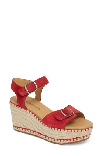 Lucky Brand Naveah Iii Espadrille Wedge Sandal In Red Suede