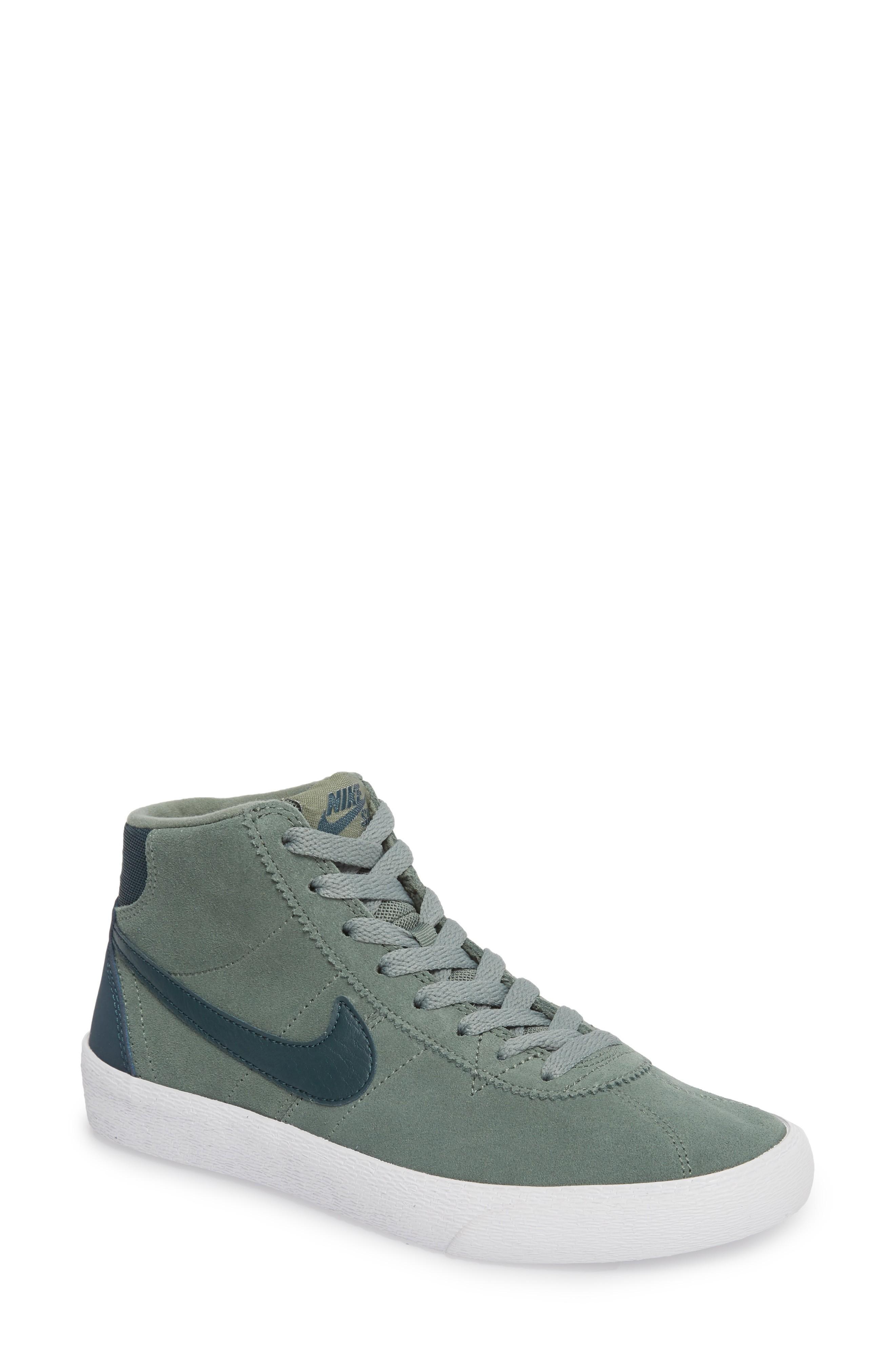 Nike Sb Bruin Hi Skateboarding Sneaker In Clay Green/ Deep Jungle