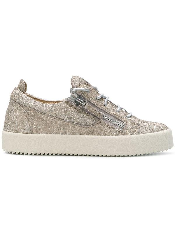 a27c30196d8f0 Giuseppe Zanotti Women's Glitter Leather May London Lace Up Sneakers In  Metallic