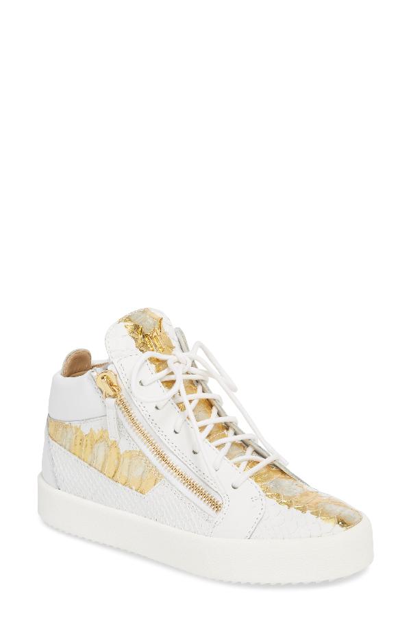 Giuseppe Zanotti May London Mid Top Sneaker In White/ Gold