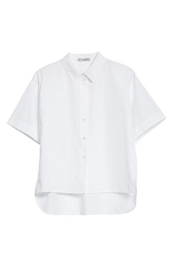 Vince Short Sleeve Cotton Shirt In Optic White