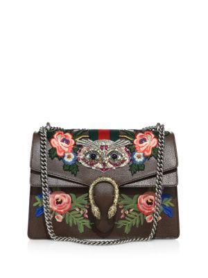 Gucci Dionysus Medium Embroidered Metallic Leather Shoulder Bag In Grey-multi