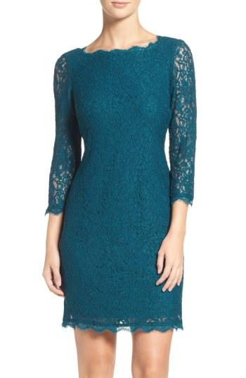 Adrianna Papell Lace Overlay Sheath Dress In Deep Turquoise