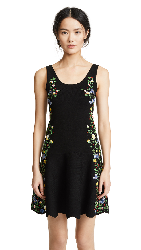 Alice And Olivia Floral Embroidered Dress In Black/Multi