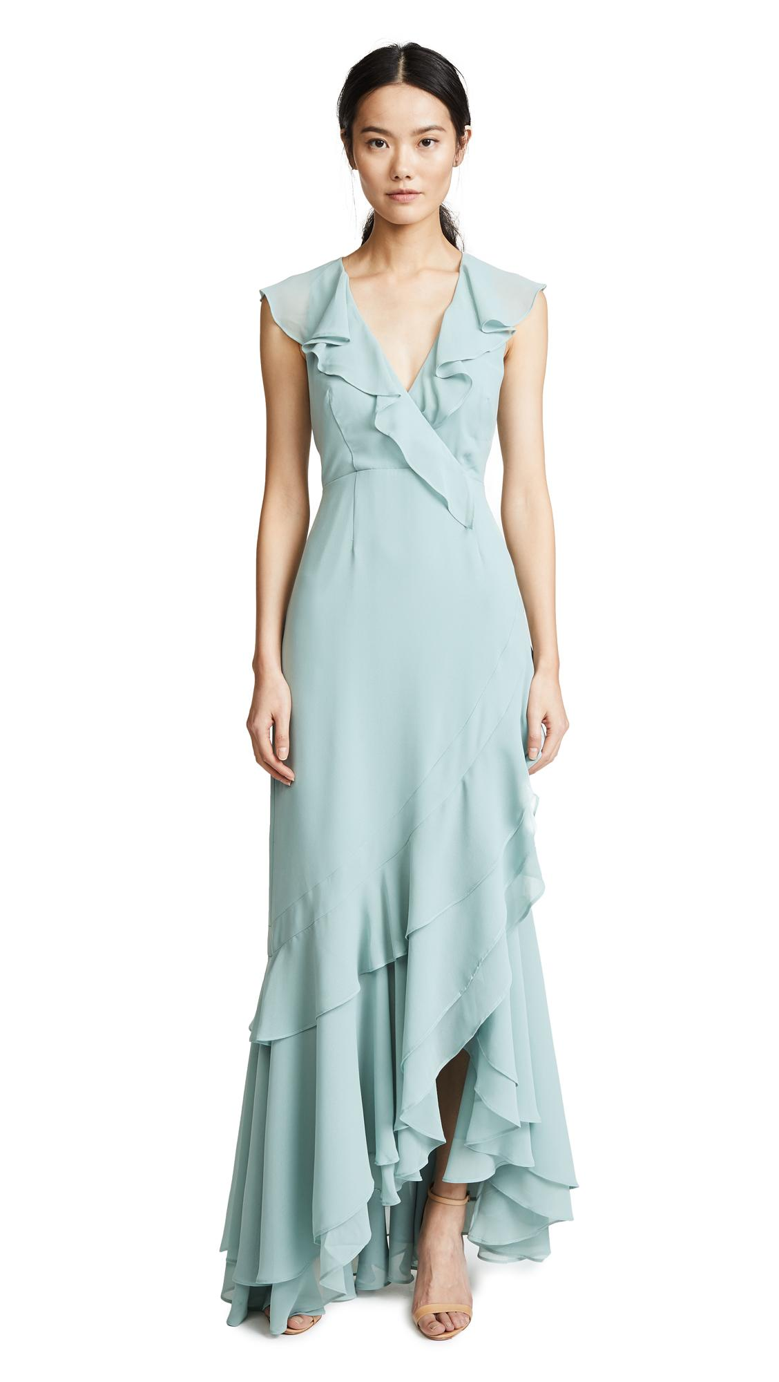 C/meo Collective C/meo Be About You Ruffle Gown In Sage
