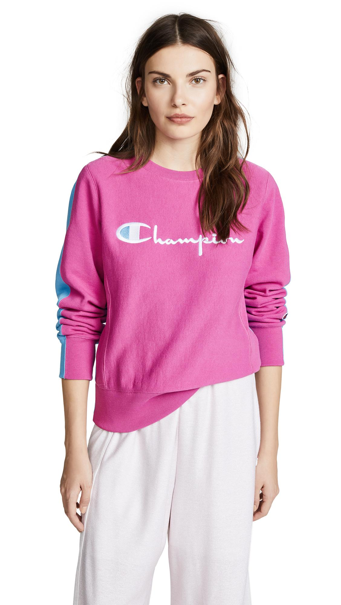 Champion Embroidered Logo Two-tone Sweatshirt In Pink/blue