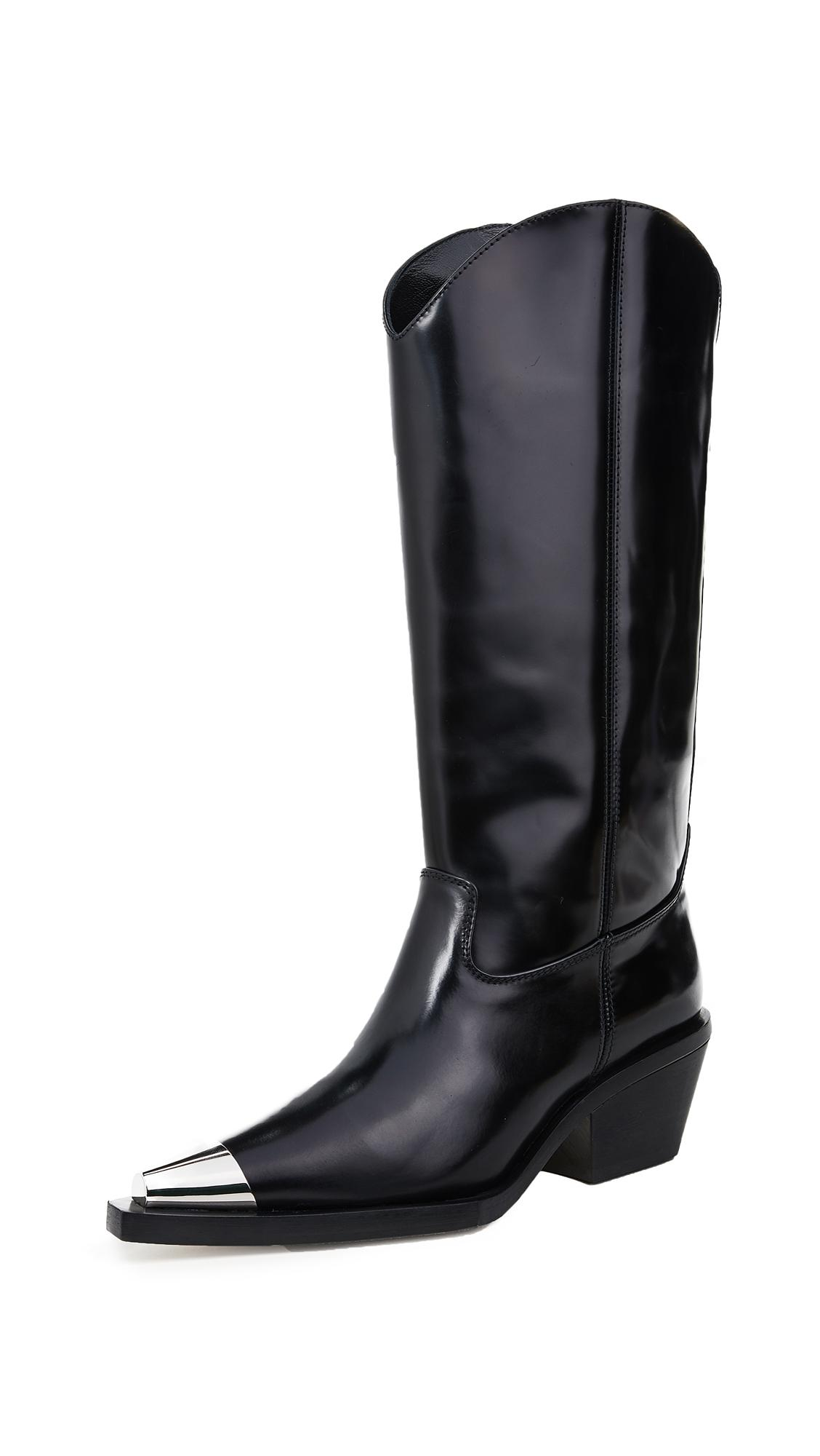 Helmut Lang Tall Cowboy Boots In Black