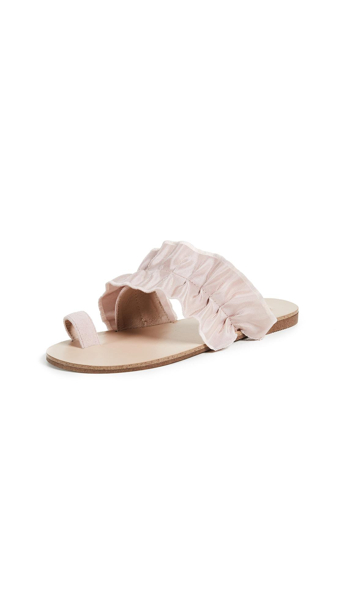 Jaggar Gathered Ruched Sandals In Nude