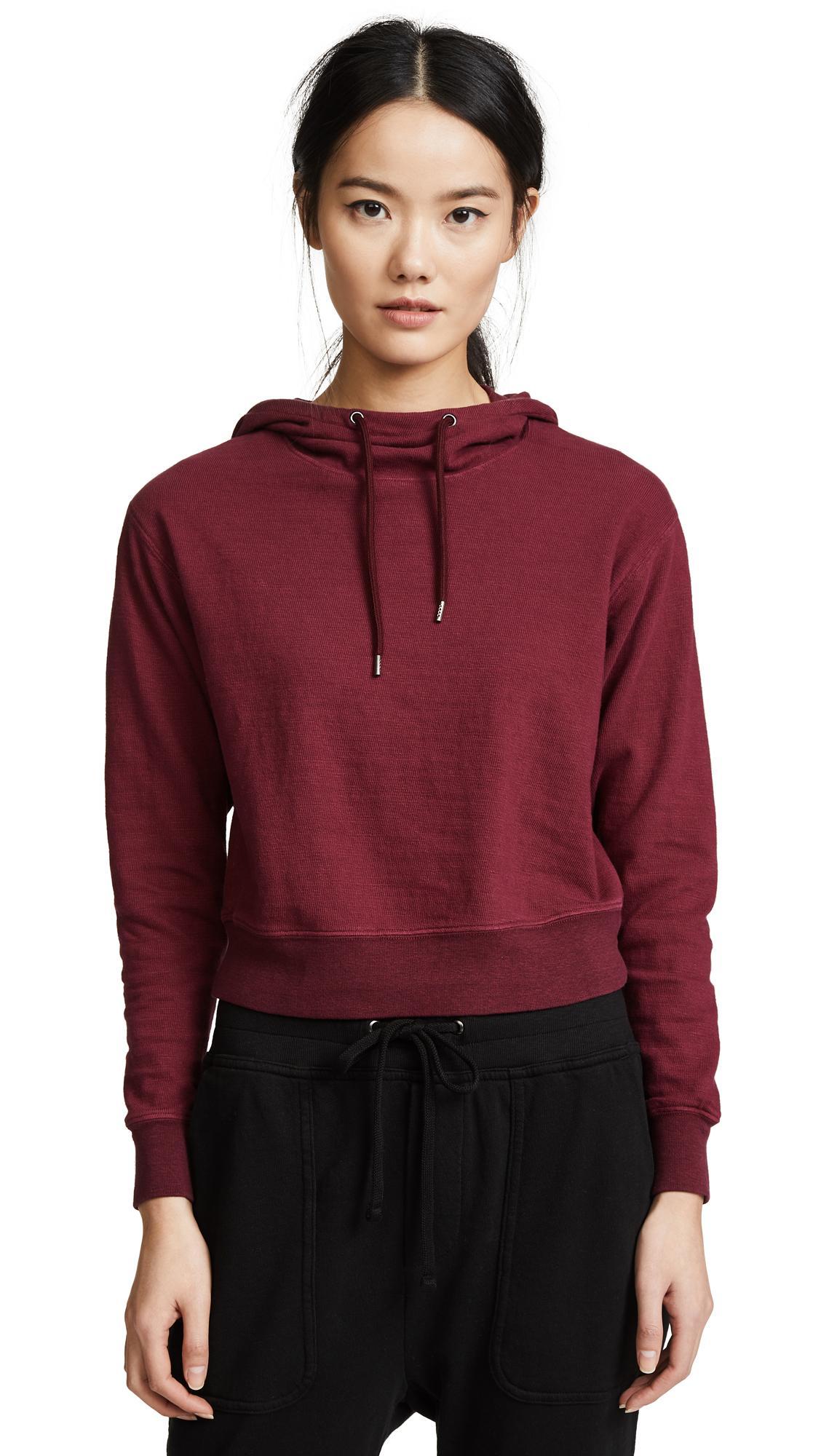 James Perse Shrunken Hoodie Sweatshirt In Bitter Red