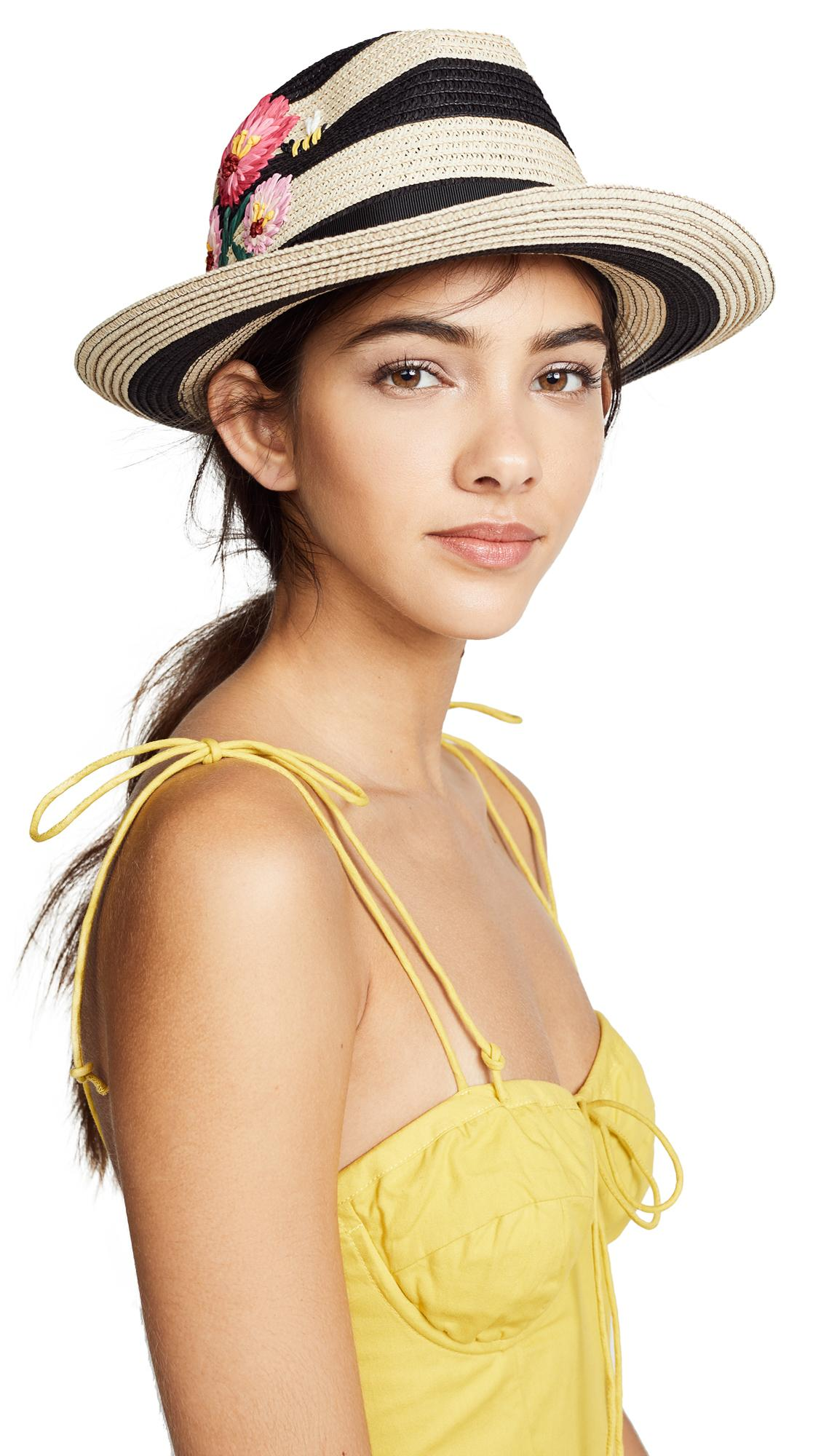 Kate Spade Blossom Embroidered Trilby Hat In Black
