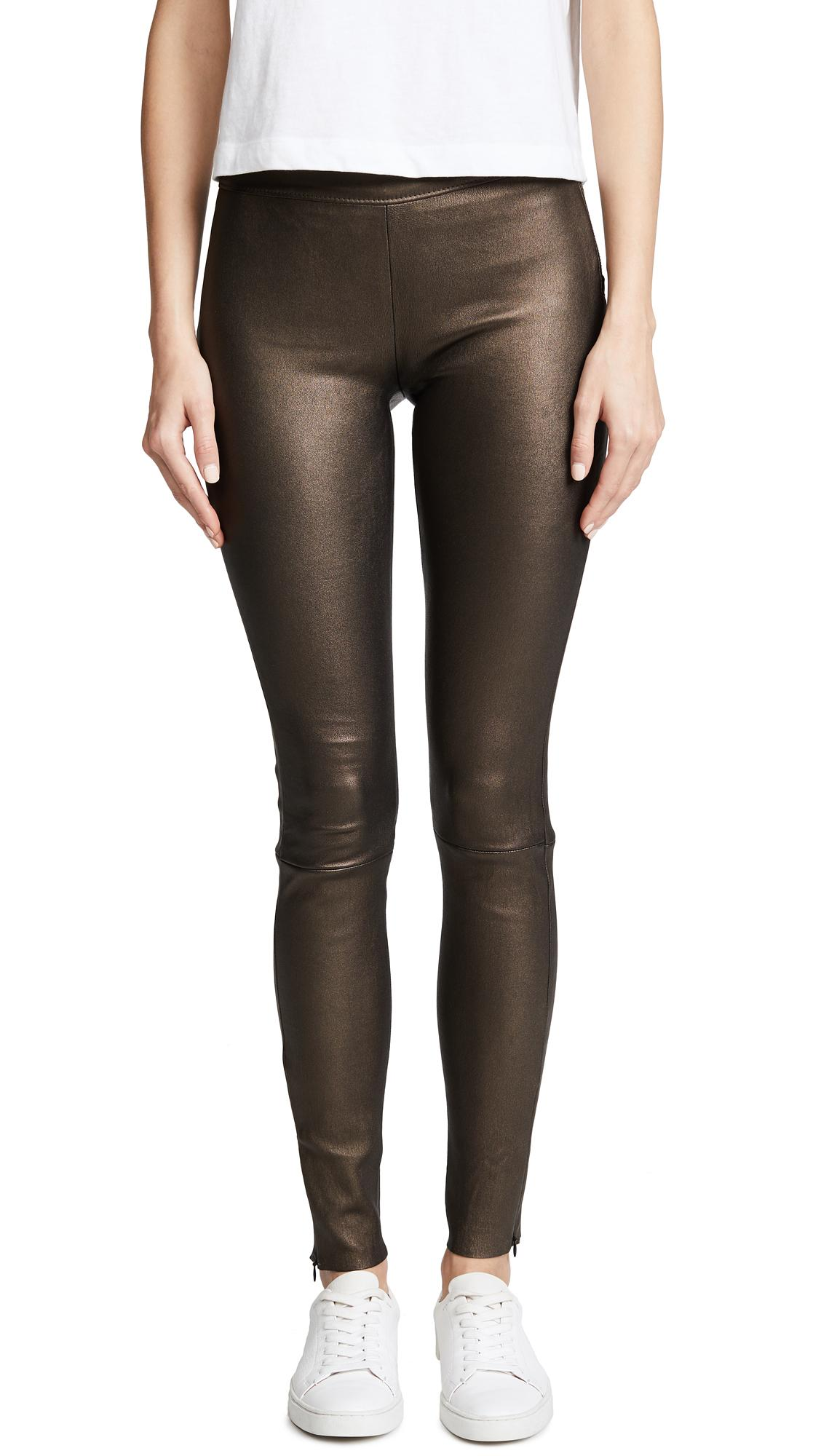 Mackage Navi Leather Pants In Bronze