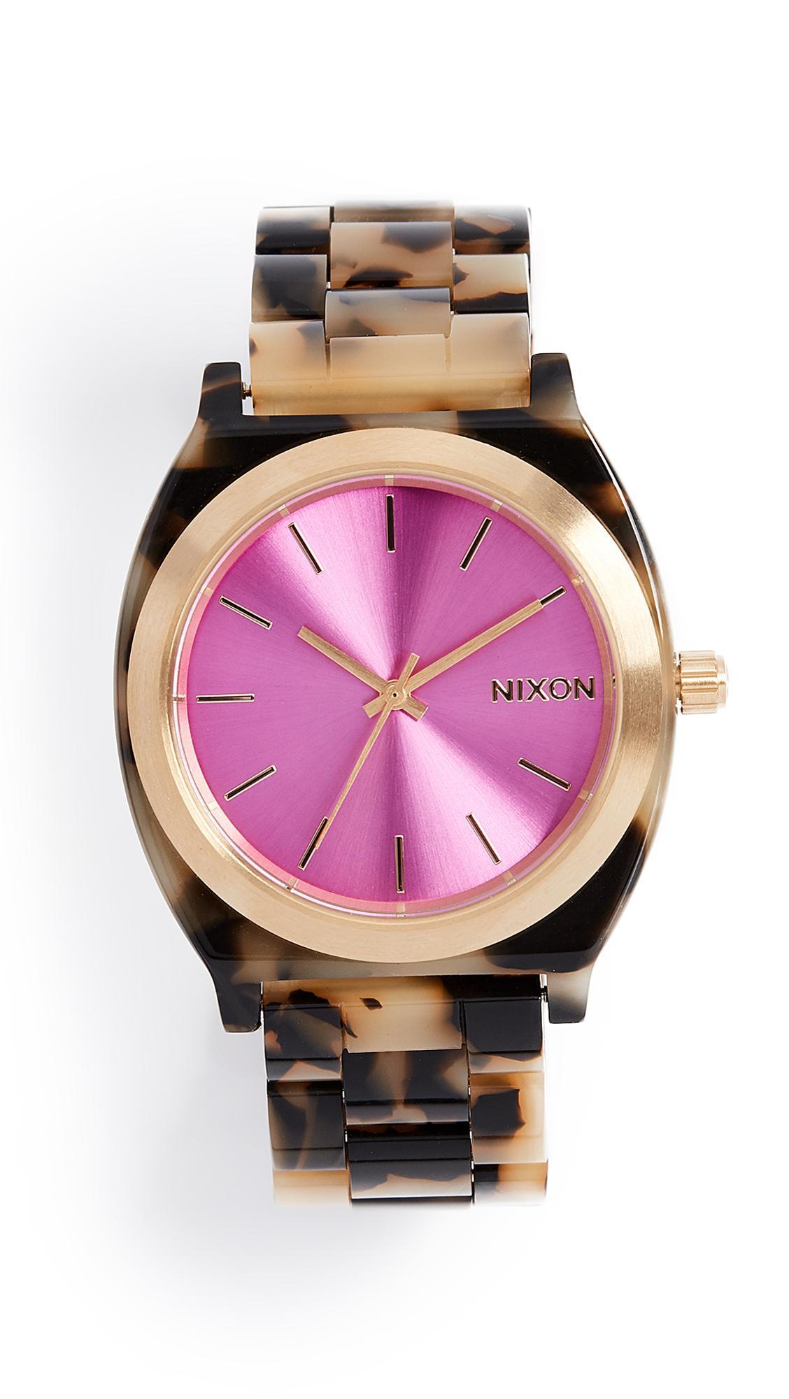 Nixon Time Teller Tort Watch, 38mm In Tortoise/punch/gold