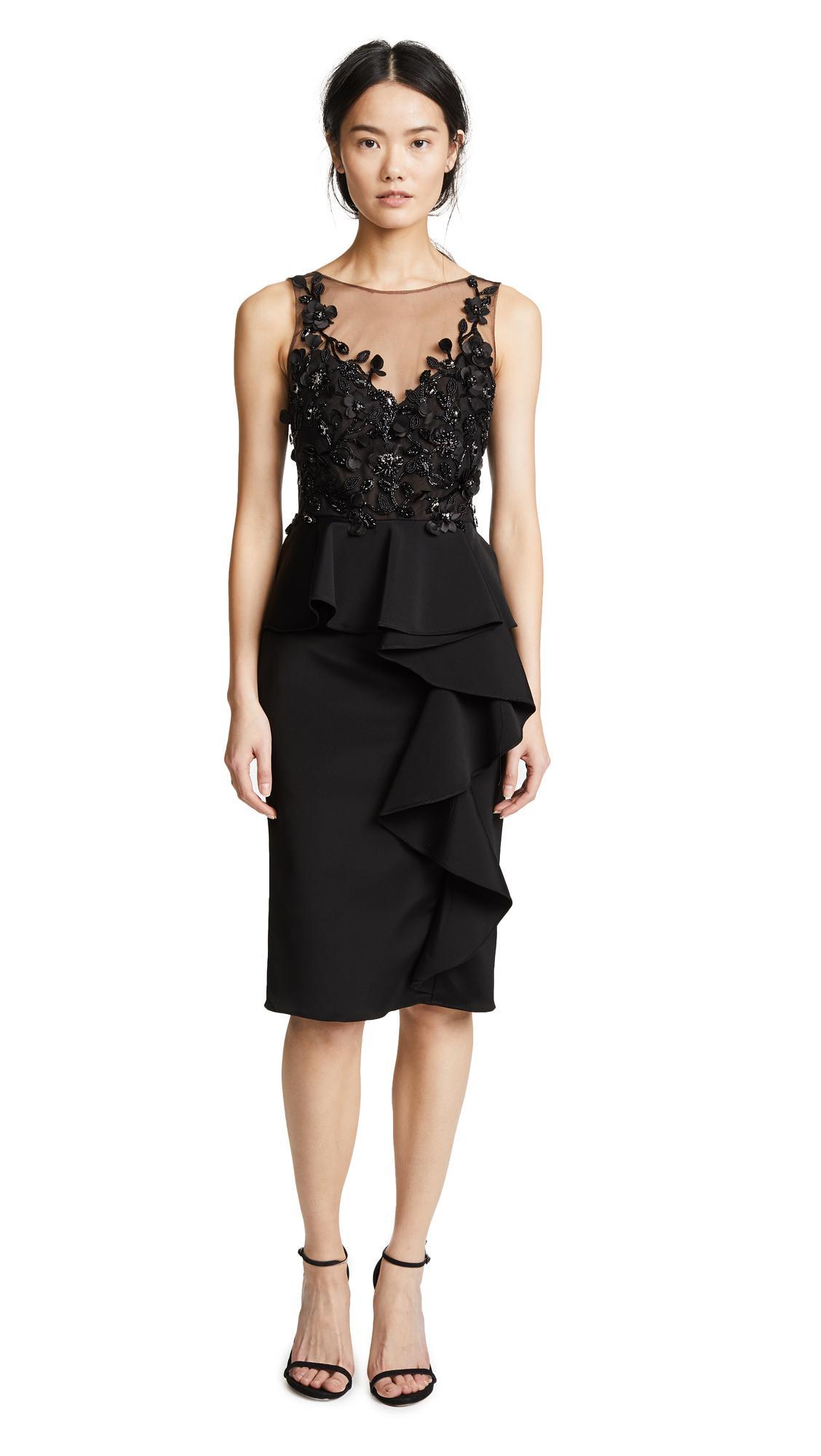 Marchesa Notte 3d Beaded Ruffle Dress In Black