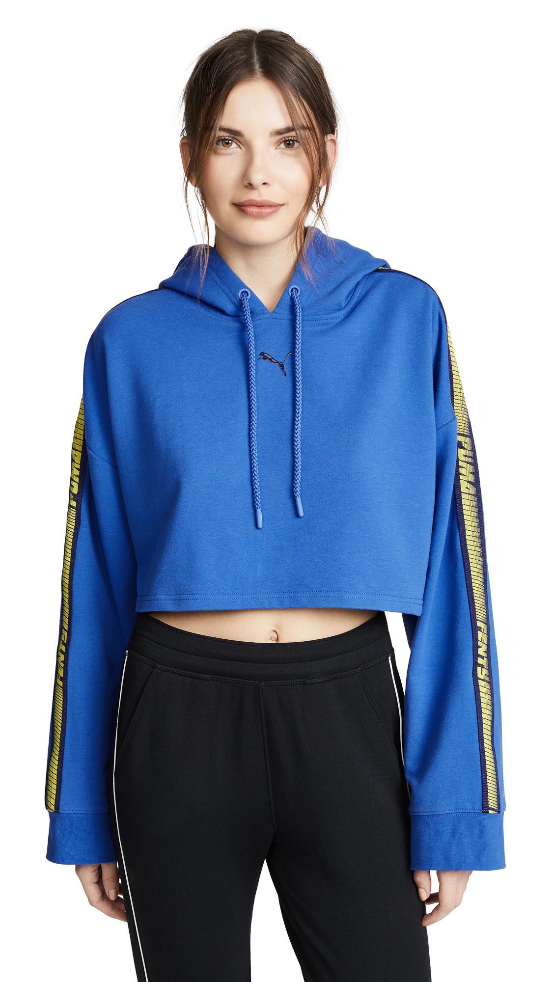 Puma Hooded Cropped Sweatshirt In Dazzling Blue