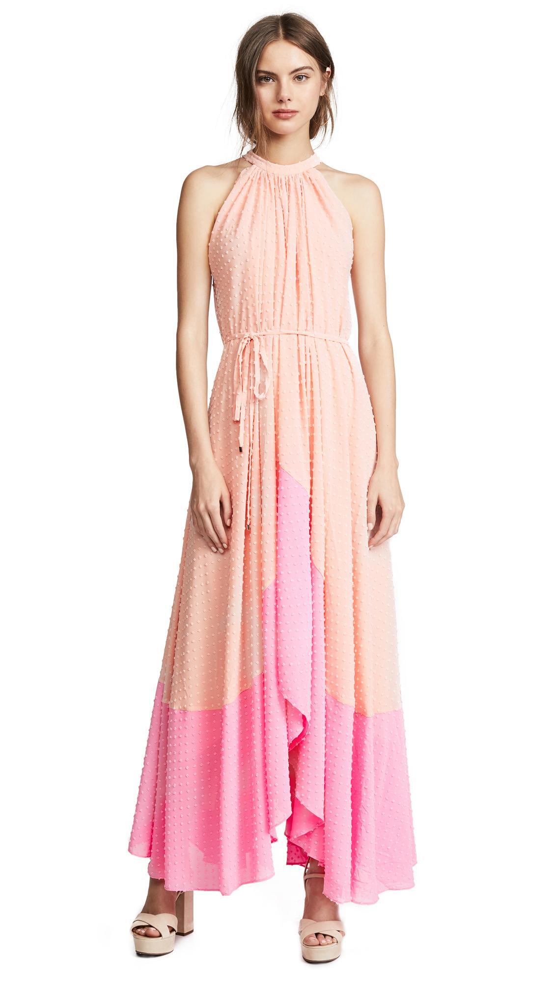 Saloni Iris Dress In Light Peach Mid Pink