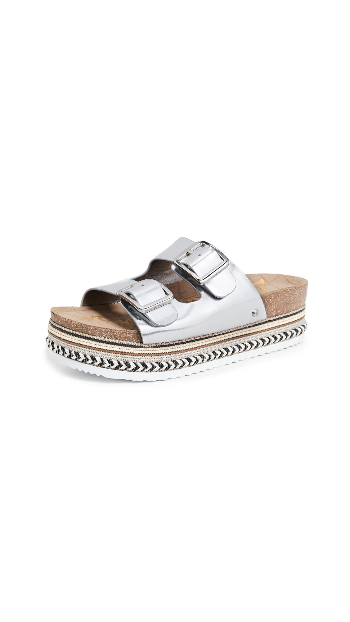 Sam Edelman Oakley Platform Slides In Soft Silver