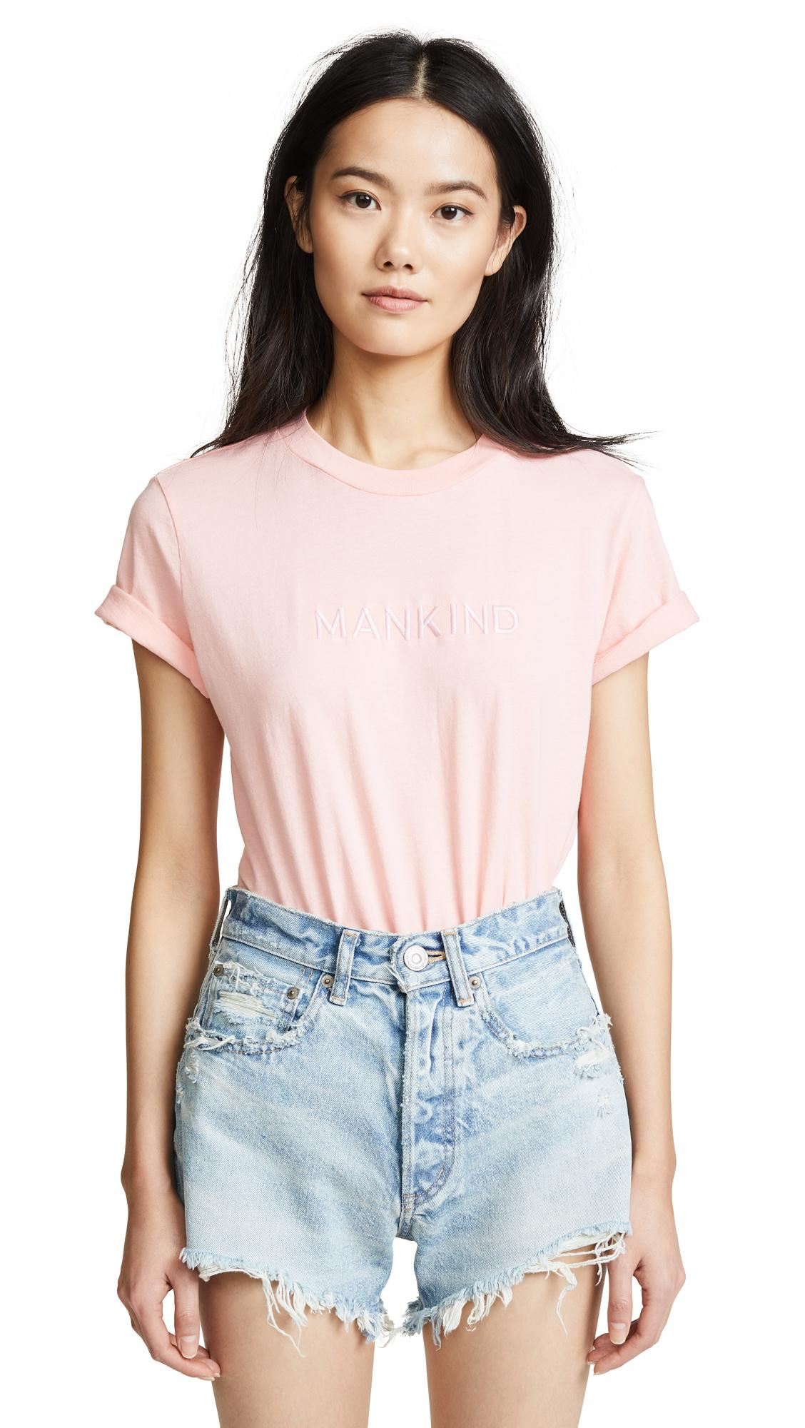 7 For All Mankind Mankind Baby Tee With Embroidery In Quartz Pink/pink