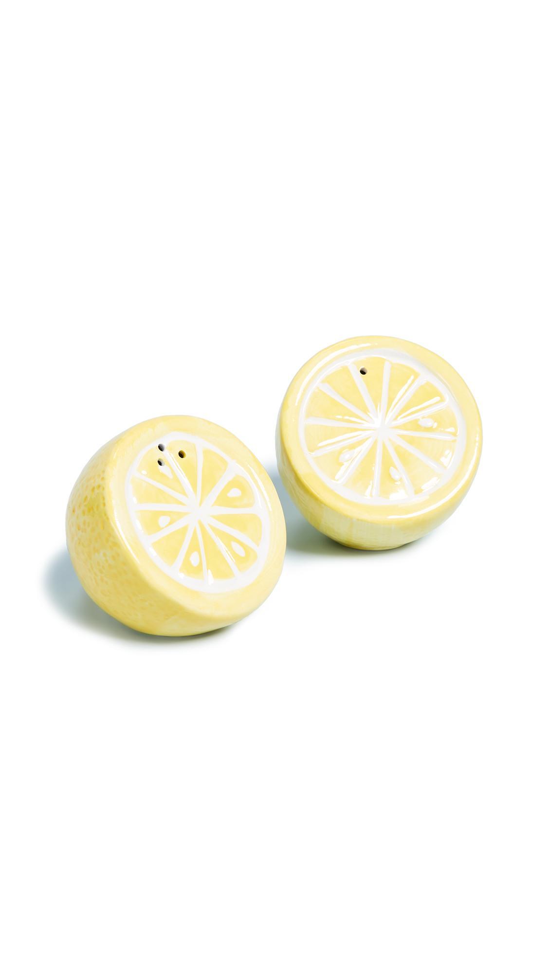 Sunnylife Lemon Salt & Pepper Shakers In Yellow