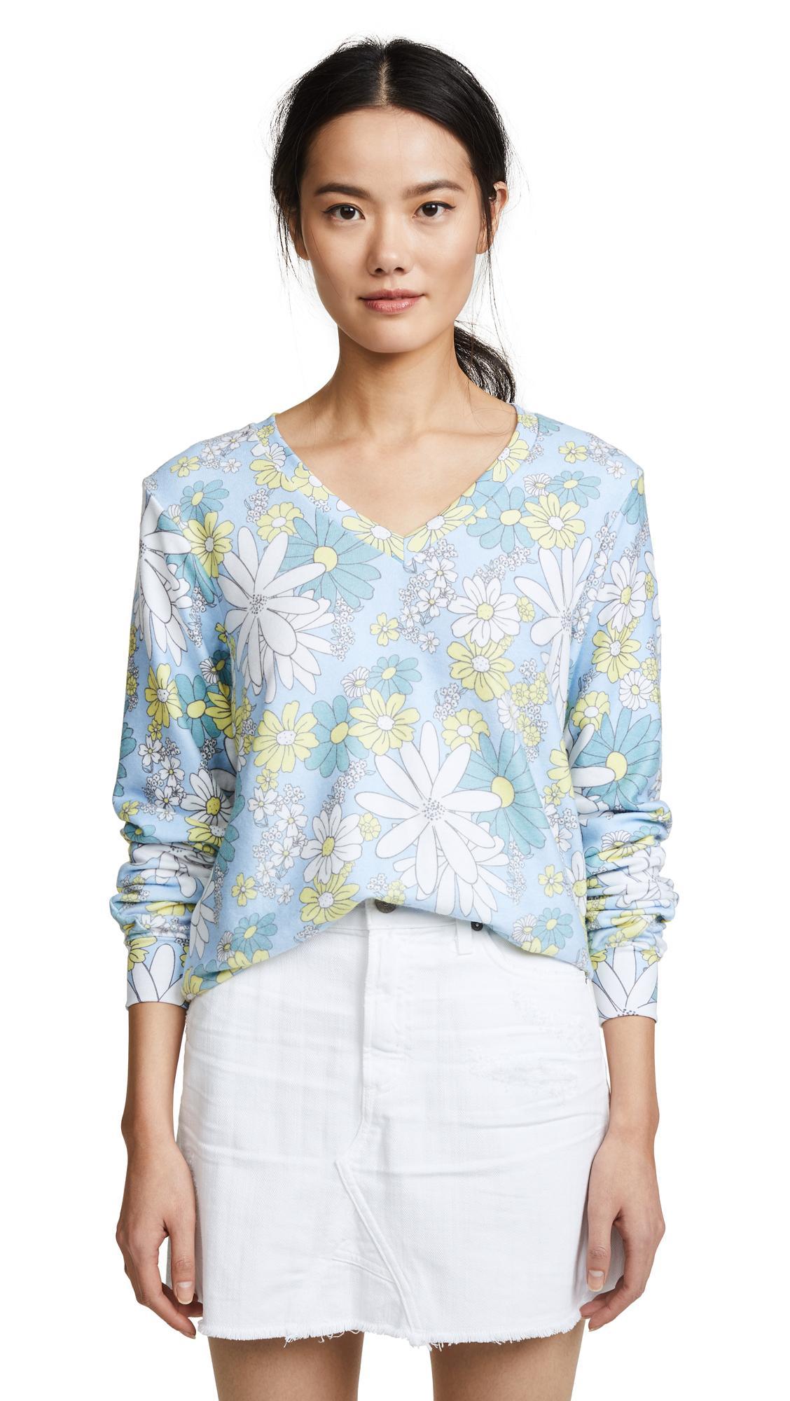 Wildfox Daisy Wallpaper Sweatshirt In Multi