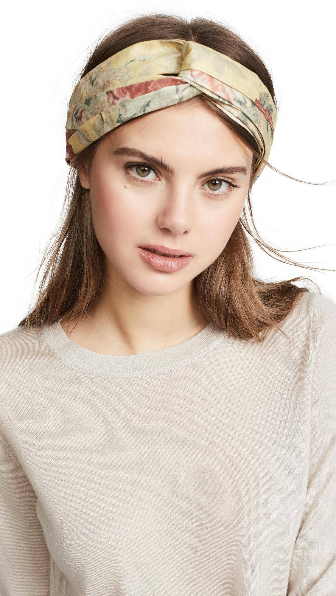 Zimmermann Printed Turban Head Scarf In Mustard Floral