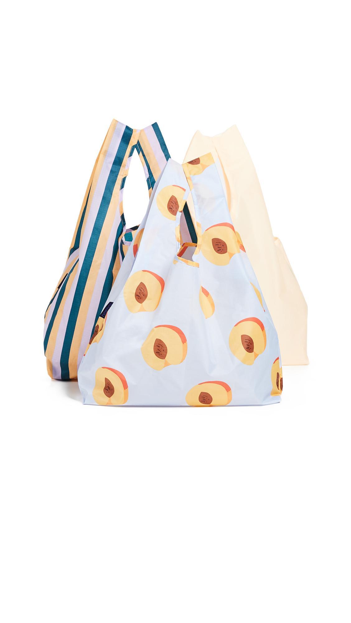 Baggu Standard Packable Bag Triple Set In Peach Electric