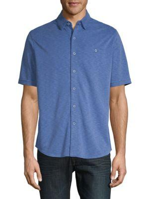 Saks Fifth Avenue Polynosic Button-down Shirt In Royal