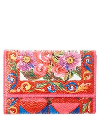 Dolce & Gabbana Printed Leather Continental Wallet In Red
