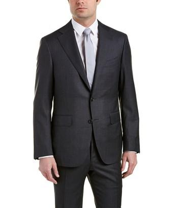 Canali Wool Suit With Flat Front Pant In Grey