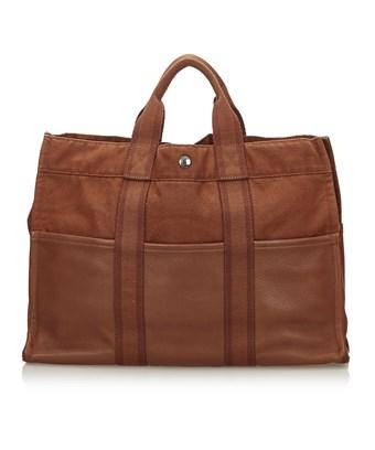 Hermes Pre-owned: Leather Base Fourre Tout Mm In Brown X Dark Brown