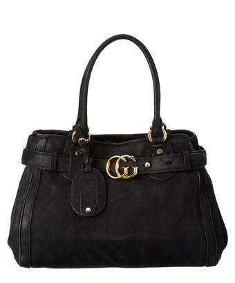 Gucci Black Leather Gg Top Handle In Nocolor