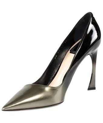 Dior Graded Patent Calfskin Pump   10cm Heel   Grey And Black In Black Grey