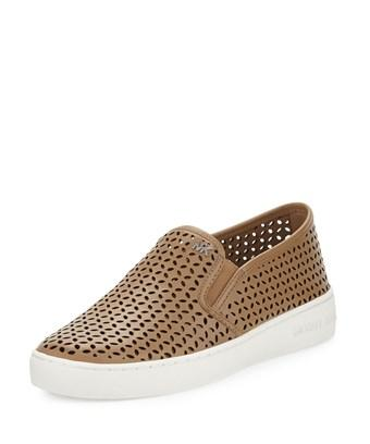 Michael Michael Kors Womens Olivia Slip On Leather Low Top Slip On Fashion Sn... In Brown