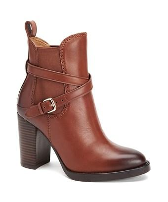 Coach Jackson Leather Block Heel Ankle Boots In Brown