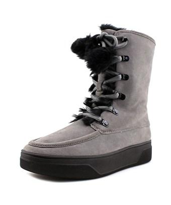 Michael Michael Kors Juno Lace Up Faux Fur Trim Ankle Boots In Grey