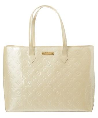 Louis Vuitton White Monogram Vernis Leather Wilshire Mm In Nocolor