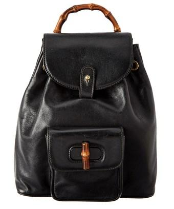 Gucci Black Leather Small Bamboo Backpack In Nocolor