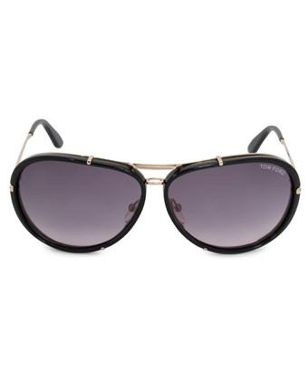 Tom Ford Cyrille Aviator Sunglasses Ft0109 28w 63 | Black Acetate Frames | Grey Gradient Lenses