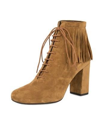 "Saint Laurent Fringed ""babies"" Ankle Boots   Tan Suede   36.5"