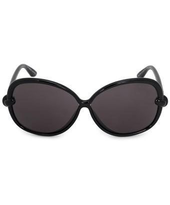 Tom Ford Ingrid Oval Sunglasses Ft0163 01a 62 | Black Acetate Frame | Grey Lenses