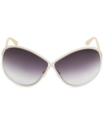 Tom Ford Lilliana Butterfly Sunglasses Ft0131 25g 66 | Ivory Enamel Frames | Grey Gradient Lenses