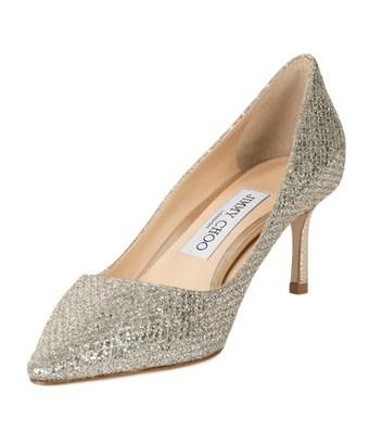 Jimmy Choo Romy Champagne Glitter Fabric 60 Mm Pointy Toe Pumps