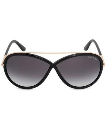 Tom Ford Tamara Oval Sunglasses Ft0454 01b 64   Black Acetate Frame   Grey Gradient Lenses