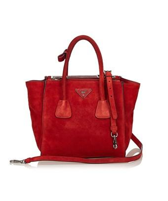 Prada Pre-owned: Suede Twin Pocket Bag In Red