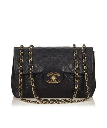 Chanel Pre-owned: Classic Maxi Lambskin Leather Single Flap In Black