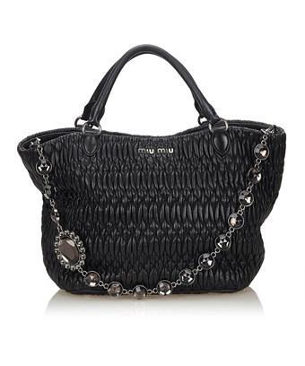 Miu Miu Pre-owned: Gathered Nappa Leather 2 Way Bag In Black
