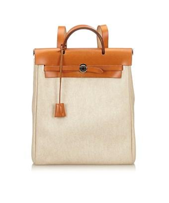 Hermes Pre-owned: Herbag Backpack In White X Ivory X Brown