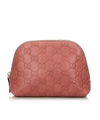 Gucci Pre-owned: Ssima Leather Pouch In Pink